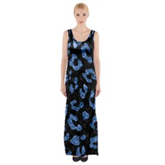 Skin5 Black Marble & Blue Marble (r) Maxi Thigh Split Dress