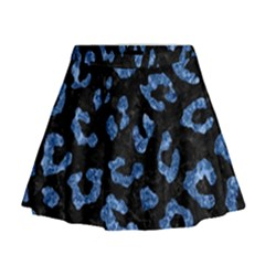 Skin5 Black Marble & Blue Marble (r) Mini Flare Skirt
