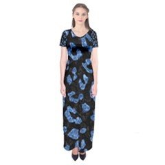 SKN5 BK-BL MARBLE (R) Short Sleeve Maxi Dress