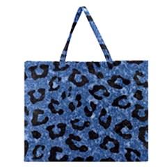 SKN5 BK-BL MARBLE Zipper Large Tote Bag
