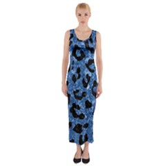 Skin5 Black Marble & Blue Marble Fitted Maxi Dress