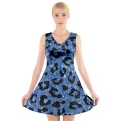 SKN5 BK-BL MARBLE V-Neck Sleeveless Skater Dress