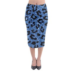 Skin5 Black Marble & Blue Marble Midi Pencil Skirt