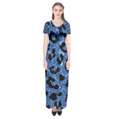Skin5 Black Marble & Blue Marble Short Sleeve Maxi Dress