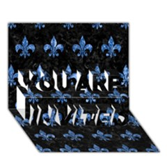 Royal1 Black Marble & Blue Marble (r) You Are Invited 3d Greeting Card (7x5)