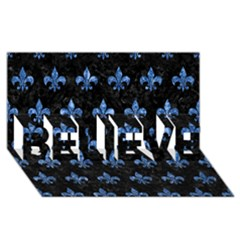 Royal1 Black Marble & Blue Marble (r) Believe 3d Greeting Card (8x4)