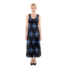 Royal1 Black Marble & Blue Marble (r) Sleeveless Maxi Dress