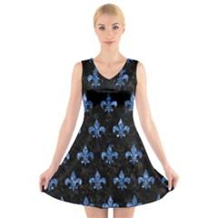 Royal1 Black Marble & Blue Marble (r) V Neck Sleeveless Dress