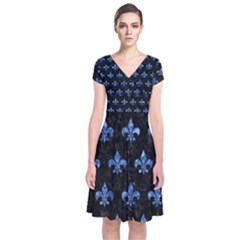 Royal1 Black Marble & Blue Marble (r) Short Sleeve Front Wrap Dress