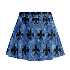 Royal1 Black Marble & Blue Marble Mini Flare Skirt
