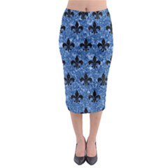 Royal1 Black Marble & Blue Marble Midi Pencil Skirt