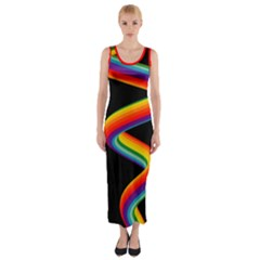 Rainbow Spiral Black Fitted Sleeveless Maxi Dress Fitted Maxi Dress