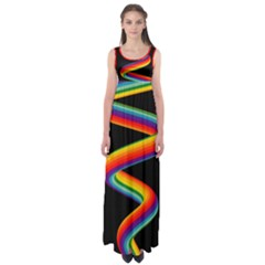 Rainbow Spiral Black Maxi Dress Empire Waist Maxi Dress