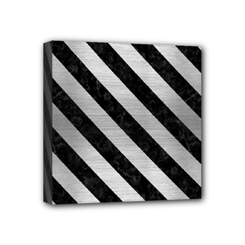Stripes3 Black Marble & Silver Brushed Metal (r) Mini Canvas 4  X 4  (stretched)