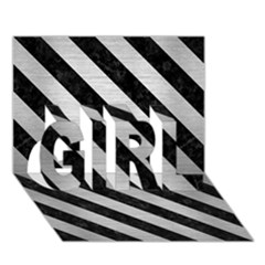 STR3 BK MARBLE SILVER (R) GIRL 3D Greeting Card (7x5)