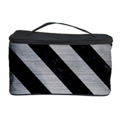 Stripes3 Black Marble & Silver Brushed Metal (r) Cosmetic Storage Case