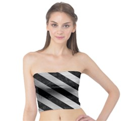 Stripes3 Black Marble & Silver Brushed Metal (r) Tube Top
