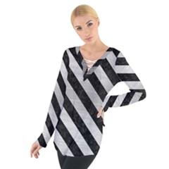 Stripes3 Black Marble & Silver Brushed Metal (r) Tie Up Tee