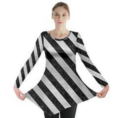 Stripes3 Black Marble & Silver Brushed Metal (r) Long Sleeve Tunic