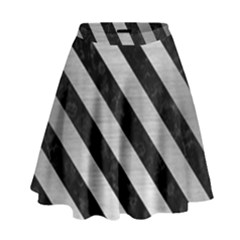 Stripes3 Black Marble & Silver Brushed Metal (r) High Waist Skirt