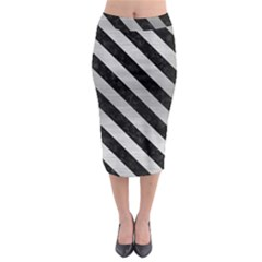 Stripes3 Black Marble & Silver Brushed Metal (r) Midi Pencil Skirt