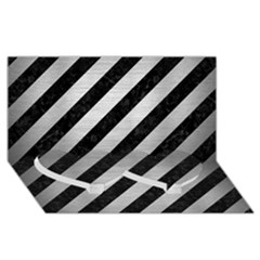 Stripes3 Black Marble & Silver Brushed Metal Twin Heart Bottom 3d Greeting Card (8x4)