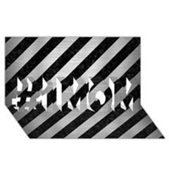 Stripes3 Black Marble & Silver Brushed Metal #1 Mom 3d Greeting Cards (8x4)