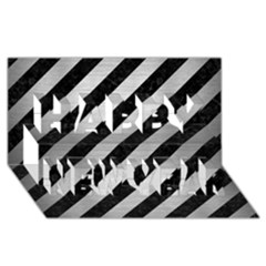 Stripes3 Black Marble & Silver Brushed Metal Happy New Year 3d Greeting Card (8x4)