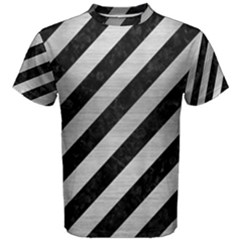 Stripes3 Black Marble & Silver Brushed Metal Men s Cotton Tee