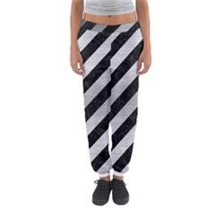 Stripes3 Black Marble & Silver Brushed Metal Women s Jogger Sweatpants