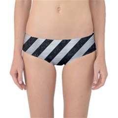 Stripes3 Black Marble & Silver Brushed Metal Classic Bikini Bottoms
