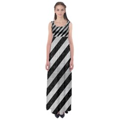 Stripes3 Black Marble & Silver Brushed Metal Empire Waist Maxi Dress