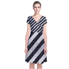 Stripes3 Black Marble & Silver Brushed Metal Short Sleeve Front Wrap Dress