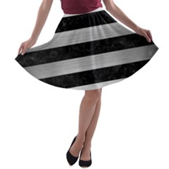 Stripes2 Black Marble & Silver Brushed Metal A Line Skater Skirt