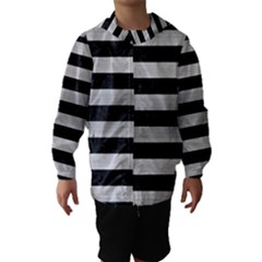 Stripes2 Black Marble & Silver Brushed Metal Hooded Wind Breaker (kids)