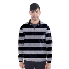Stripes2 Black Marble & Silver Brushed Metal Wind Breaker (men)