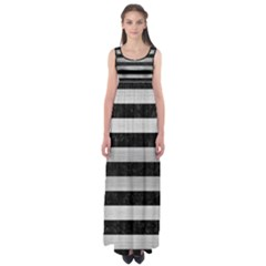 Stripes2 Black Marble & Silver Brushed Metal Empire Waist Maxi Dress