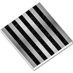 Stripes1 Black Marble & Silver Brushed Metal Small Memo Pads