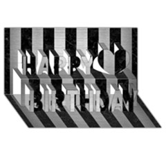 Stripes1 Black Marble & Silver Brushed Metal Happy Birthday 3d Greeting Card (8x4)