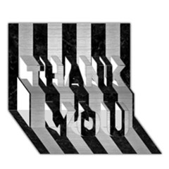 Stripes1 Black Marble & Silver Brushed Metal Thank You 3d Greeting Card (7x5)