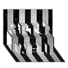 Stripes1 Black Marble & Silver Brushed Metal Get Well 3d Greeting Card (7x5)