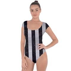 Stripes1 Black Marble & Silver Brushed Metal Short Sleeve Leotard