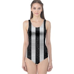 Stripes1 Black Marble & Silver Brushed Metal One Piece Swimsuit