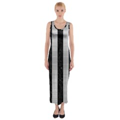 Stripes1 Black Marble & Silver Brushed Metal Fitted Maxi Dress