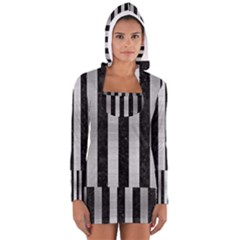 STR1 BK MARBLE SILVER Women s Long Sleeve Hooded T-shirt