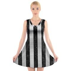 STR1 BK MARBLE SILVER V-Neck Sleeveless Skater Dress