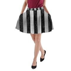 STR1 BK MARBLE SILVER A-Line Pocket Skirt