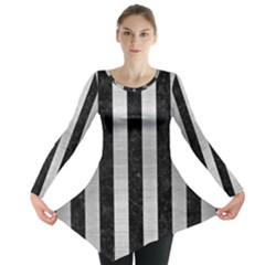 Stripes1 Black Marble & Silver Brushed Metal Long Sleeve Tunic