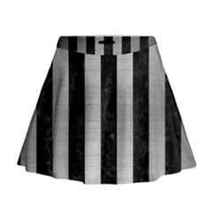 STR1 BK MARBLE SILVER Mini Flare Skirt