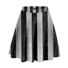 Stripes1 Black Marble & Silver Brushed Metal High Waist Skirt